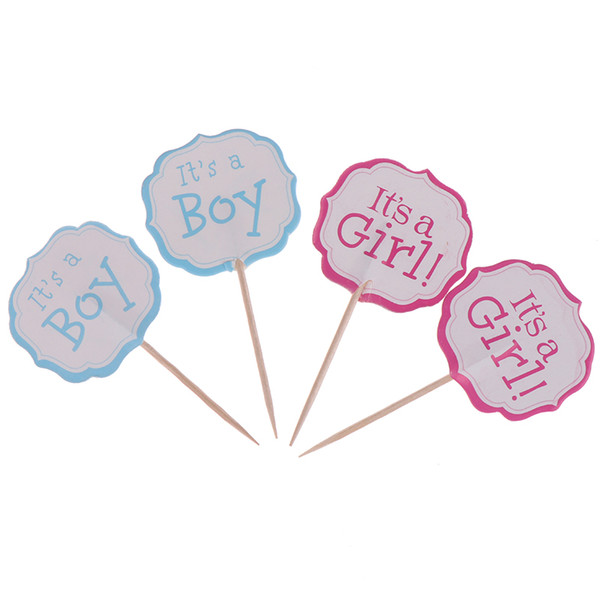 24pcs Baby Shower Party It's a boy/It's a girl Cupcake Toppers Decorate Kids Favors Birthday Blue Pink Cake Toppers With Sticks