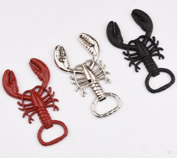 Unique lobster shape white Wine beer bottle Opener metal key chain red black silver colors wholesale free shipping