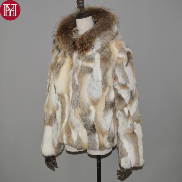 Natural Real Rabbit Fur Coat Women Spring Winter Rabbit Fur Short Jacket With Raccoon Collar Real Hooded Overcoat