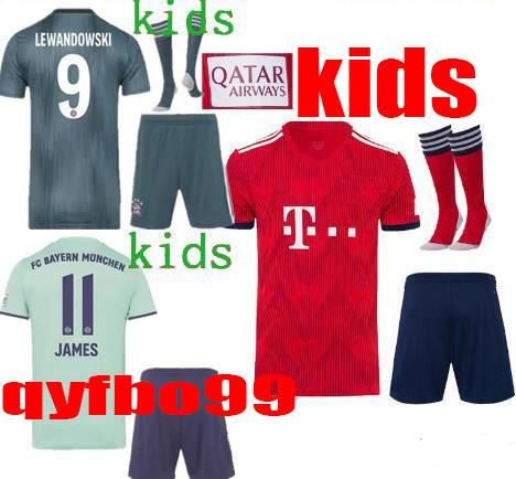 Bayern Munich kids soccer jerseys 18/19 kids full kit LEWANDOWSKI MULLER ROBBEN GOTZE 2018/19 boys uniforms with socks