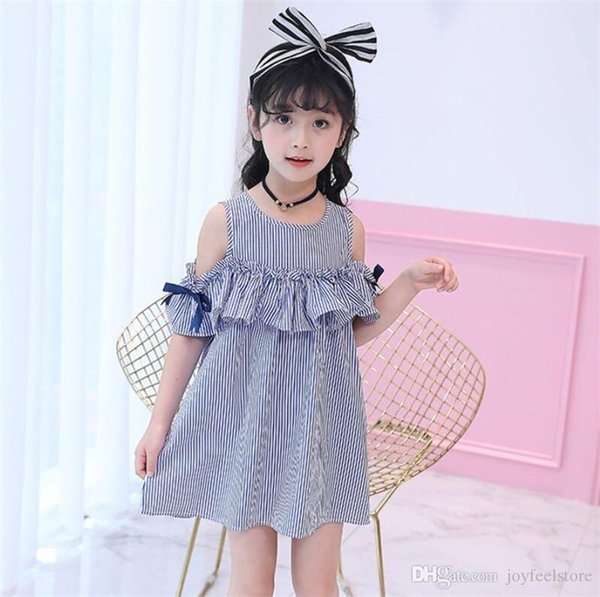 England Style Kids Baby Girls Clothes Striped Off-shoulder Short Sleeves Party Gown +Headband Formal Girl Dresses