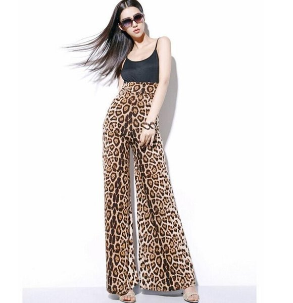 Print leopard Wide Leg Long Harem Casual Pants High Waist Trousers Palazzo OL Comfortable Bottoms Chiffon Trousers New Beach Pant