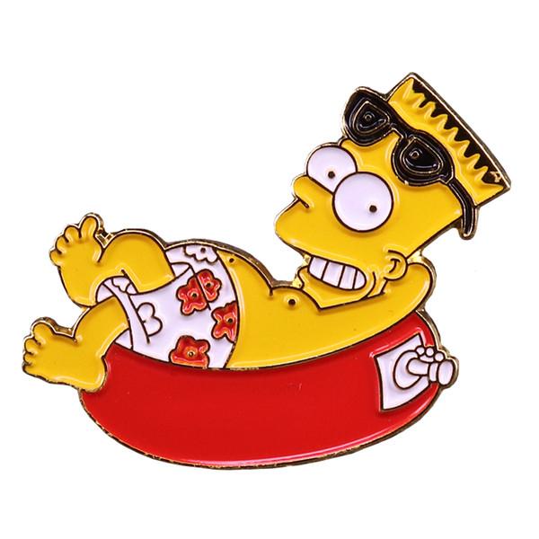 Acheter Vacances Bart Badge épinglette été Plage Mignon Dessin Animé Simpson Broche Des Années 90 Nostalgie Drôle Présenter De 1 81 Du Simida265