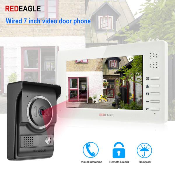 REDEAGLE Home Video Türsprechanlage Türklingel Intercom System 7 Zoll 1024x600 LCD Monitor mit Unlock 700TVL IR Nachtsichtkamera
