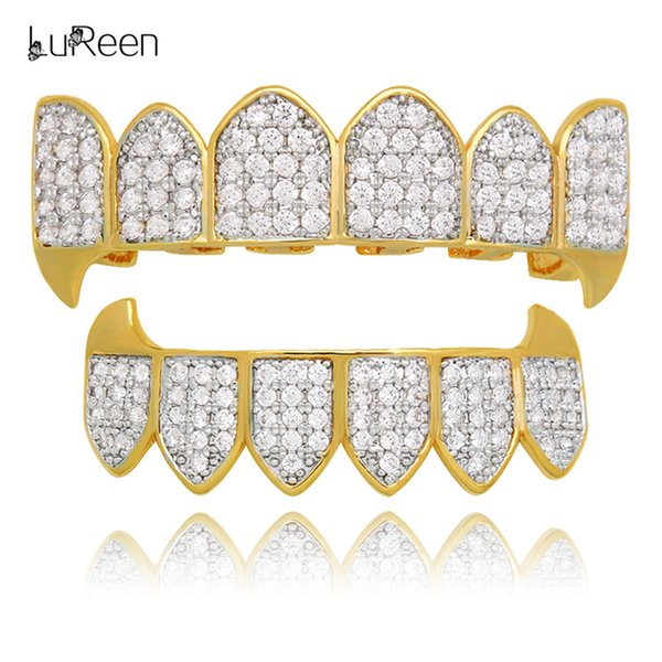 LuReen Gold Plated Vampire Grillz Fully Paved Iced Out CZ 6 Top and Bottom Teeth Grills Set