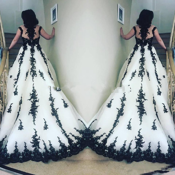Black and white Lace Applique Wedding Dresses Capped Sleeves Sheer Neck Cathedral Train gothic corset Wedding Bridal Gowns