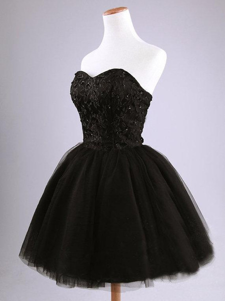 Compre Vestidos De Fiesta Cortos Negros Vestidos Cortos De Baile Vestidos De Noche Negros Cortos Y De Color Negro Para La Ocasión Formal Tamaño
