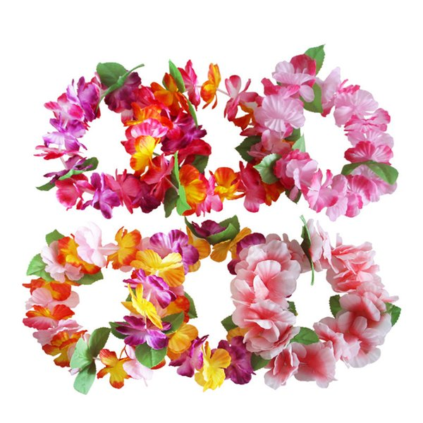 Artificial Hawaiian Flowers Leis Garland Necklace & Headband Bracelet Set for Summer Beach Party Decoration Birthday Wedding