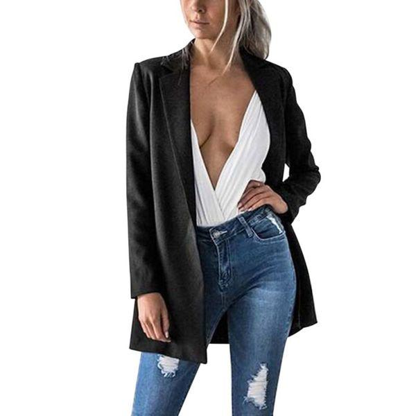 Para mujer Blazers de manga larga Cardigan Plus Size Blazer y chaqueta traje de invierno ropa Blazer Feminino L3
