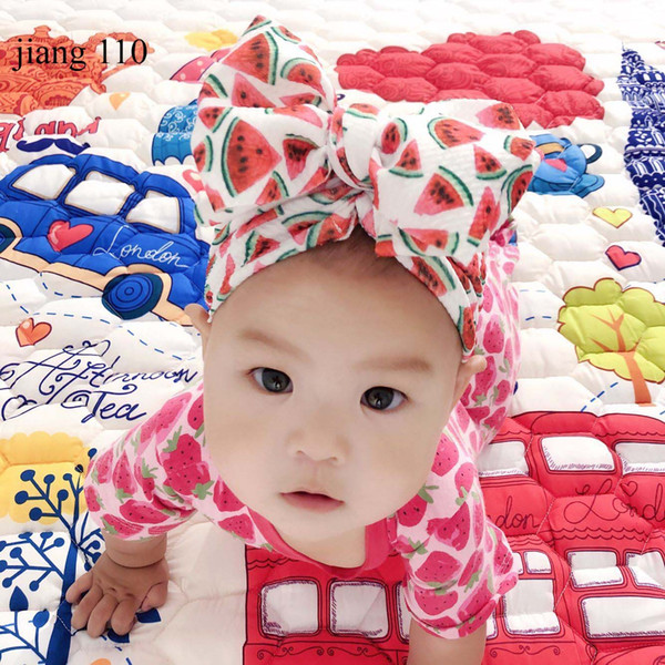 INS Europe and America Sweet Print Watermelon Flower Baby Girl Hat with Bow Baby Turban Cap for Girls Elastic Infant Accessories