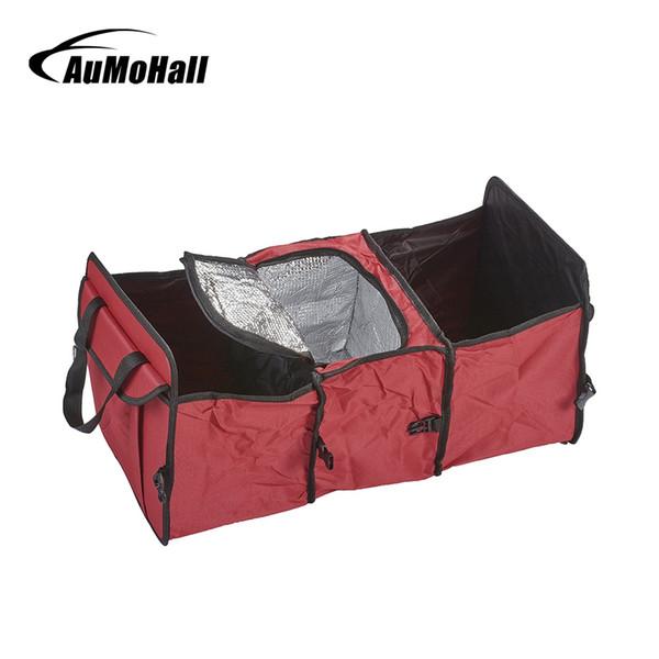 AuMoHall Folding Car Oxford Cloth Car Trunk Tidy Bag Organizer Storage Box with Cooler Bag