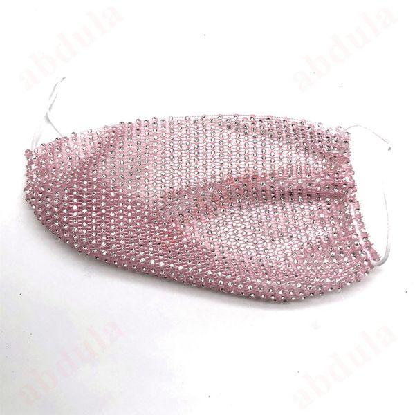 Clear Rhinestone + Pink Thread