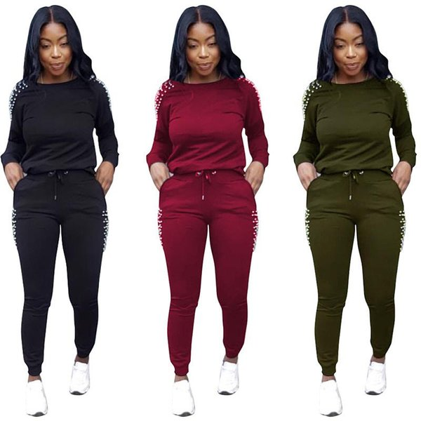 Fashion Pearls Beading Two Piece Set Women Tracksuit Set Autumn Long Sleeve Pullovers Tops + Long Pants Casual 2-Piece Suits