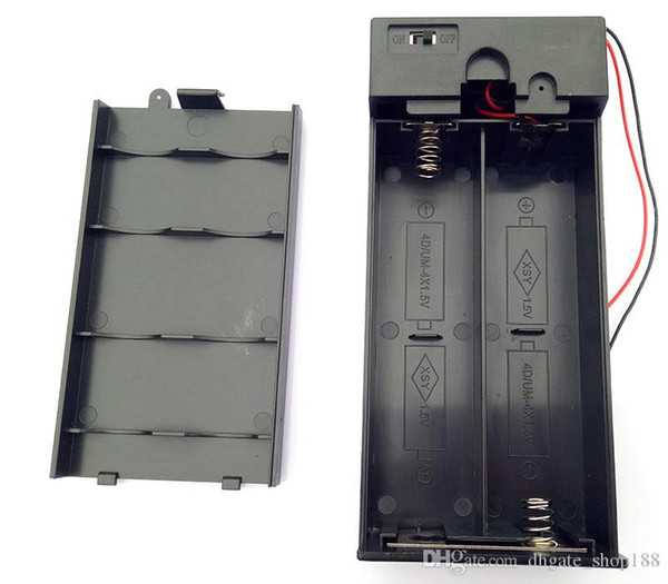 best selling 1.5V X2 X3,X4 D Battery boxs D Battery Holder Enclosed Box With switch 3V 4.5V 6V Battery boxs D