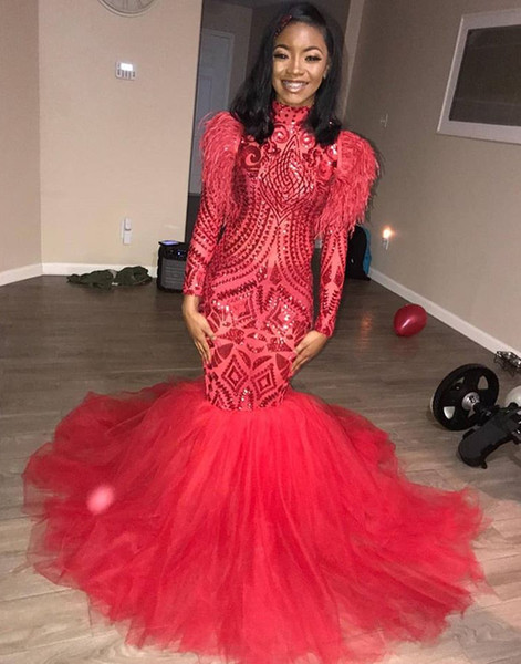 Red Prom Dresses Mermaid High Neck Lace Feather Long Sleeves Tulle Vestido de Festa Party Evening Gowns DP0050