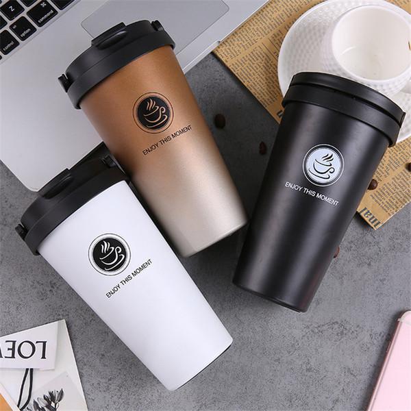 Портативная кофейная чашка с крышкой 500мл Термос Кружка Термокружка Термос из нержавеющей стали Термокружка для автомобильных бутылок с водой