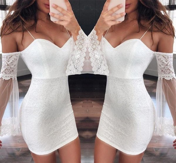 best selling 2019 Little White Mini Short Party Dress Off Shoulder Lace Sleeve Spaghetti Prom Club Gowns Cheap yl57-2138