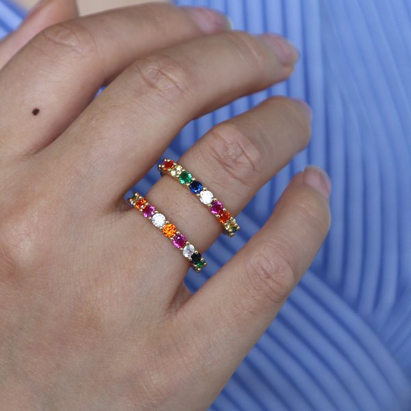 Yeni gökkuşağı yüzük coloful engagment için cz sonsuzluk band düğün hediyeleri muhteşem moda kadınlar lady romantik aşk parmak takı