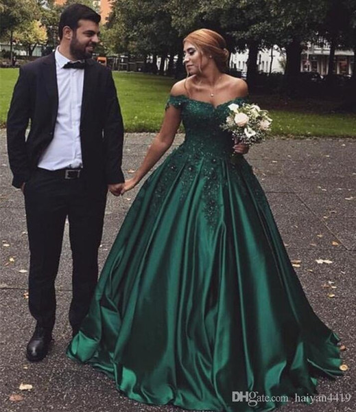 Hunter Green Ball Gown Prom Dresses Off Shoulder Lace Applique Beaded Sweep Train Plus Size Cheap Pageant Party Formal Evening Gowns