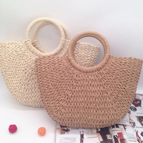 Hand Woven Beach Bag Round moon shaped Straw Totes Bag Large Bucket Summer Bags Women Natural Handbag High Quality INS Popular c0012