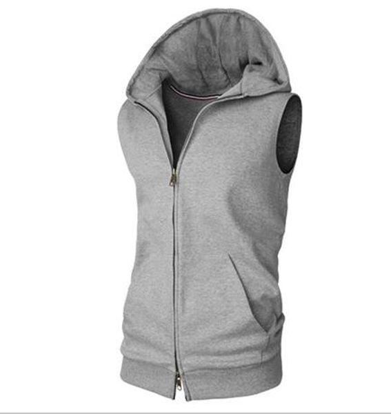 Sleeveless Mens Hoodie Wear Coat Einzigartige Weste Billiger Strickjacke Sport Sweatershirt Tops Volltonfarbe Kleidung Großhandel M-XXL