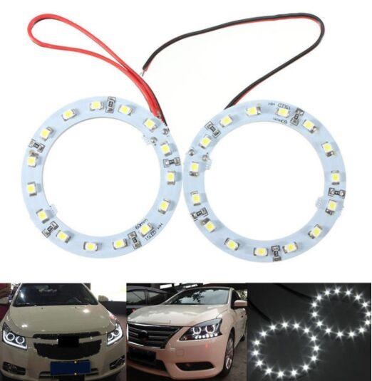 Paire 60mm White Angel Car yeux Lumières Halo Lumières PHARES Ring 15 LED SMD Chip