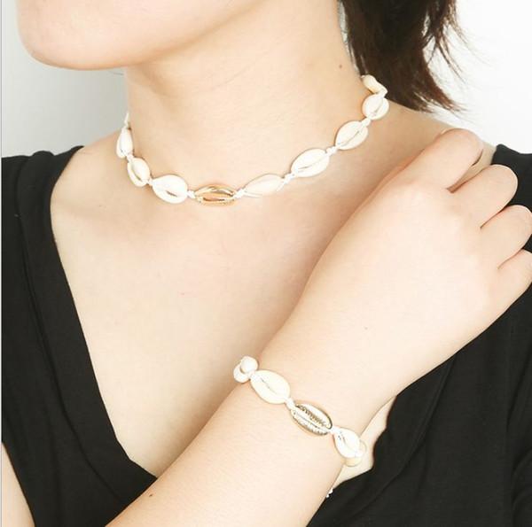 Set di bracciali di collana di conchiglie intrecciate a mano europee e americane Hawaii wind short simple clavicle shell personality