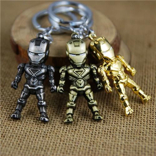 17 styles Classic Iron Man Pendant Keychain The avengers alliance LED keychain Mini PVC Action Figure with LED Light & Sound keyring newv001