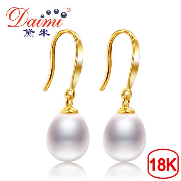 Daimi orecchini in oro 18k gancio bianco orecchini di perle d'acqua dolce 8-9mm 18 k oro giallo gioielli di marca di alta qualità per le donne Y19052301