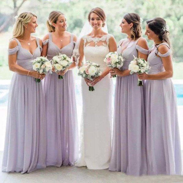 2019 Lavanta Şifon Gelinlik Modelleri Zarif Kapalı Omuz Sapanlar Dantelli Parti Elbise A Hattı Ülke Düğün Konuk Elbiseleri Custom Made