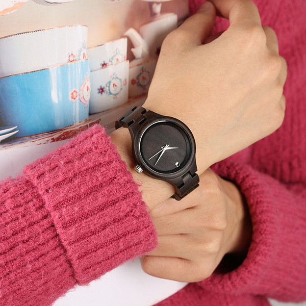Leisure High Lightweight Ebony Wooden Watch for Women,Casual All Black Wood Watch with Concise Round Dial,Folding Clasp for Love Ones