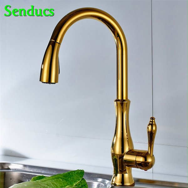 Senducs Pull Out Kitchen Faucet with Quality Brass Hot Cold Kitchen Sink Tap Black Gold Pull Out Faucet Chrome Kitchen Faucet