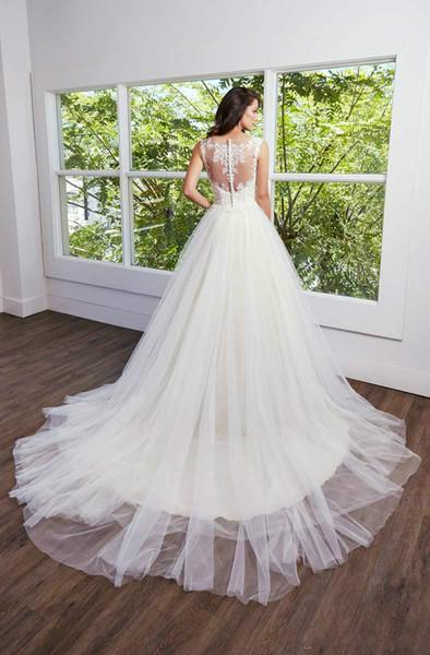 2020 sexy pizzo Abiti da sposa A-Line V Scollatura Sheer-Back del corsetto vestito da cerimonia nuziale degli abiti di sposa Pus Size abito convenzionale