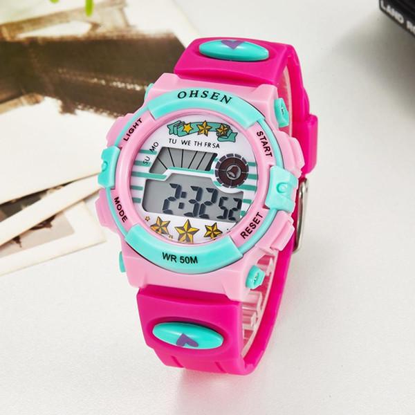 La venta superior 2016 de la marca de OHSEN LCD reloj de pulsera de cuarzo digital de los niños niñas 50M correa de silicona resistente al agua de color rosa posterior del reloj de alarma de luz