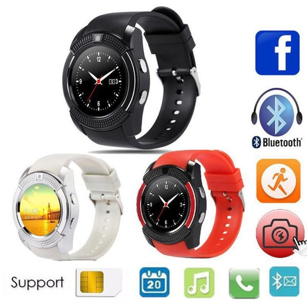 Nuevo V8 Smart Watch Wristband Watch Band Bluetooth Fitness Podómetro SIM Android Full Circle Display Smart Watch para sistema Android