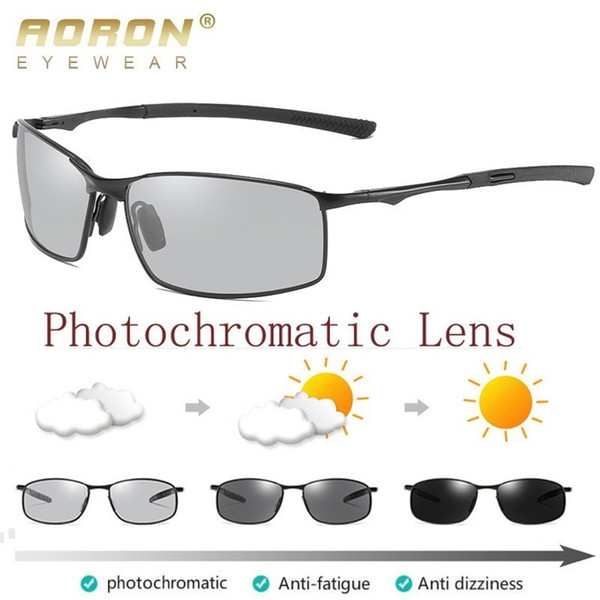 aoron polarized pchromic sunglasses mens transition lens driving glasses male driver safty goggles oculos gafas de sol, White;black