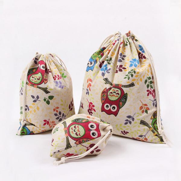 Ramas de colores patrón de búho 100% algodón lino Bolsa con cordón Ropa de viaje Organizador de la tienda bolsa de tela para el polvo Inicio Diversos niños bolsas de almacenamiento de juguetes