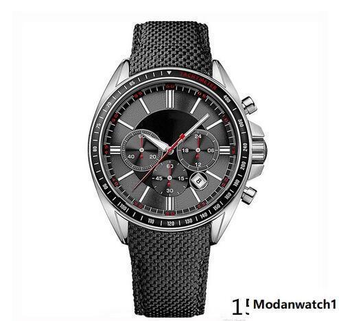 Moda relógio de quartzo cronógrafo dos homens MENS BLACK DRIVERS SPORTS WATCH 1513087 + caixa