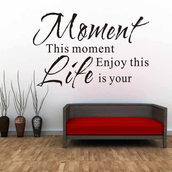 1 Pcs Enjoy This Moment Is Your Life Wall Stickers Retro Phrases Wallpapers Quotes And Sayings Decals Decoration Home Decor