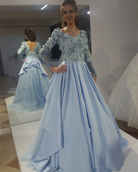 Stunning Baby Blue Elie Saab Evening Gowns Vintage Puffy Top 3D Floral Appliques Long Sleeves Modest Prom Dress Low Back arabic dresses 2019