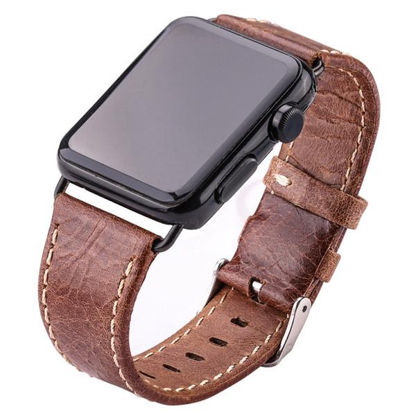 Inek Derisi Saat Kayışı Apple İzle Yumuşak Ince 38mm 42mm Siyah Koyu Kahverengi Kadın Erkek Hakiki Deri Watch Band Kayışı Kemer