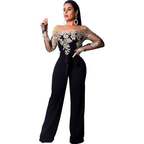 2019 New Lace Patchwork Jumpsuit Women Sexy Off Shoulder Slash Neck Long Sleeve Women Jumpsuit Elegant Slim Wide Pants