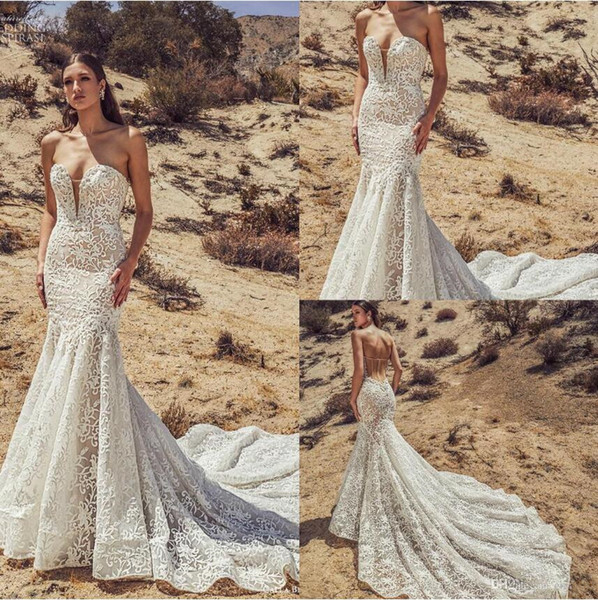 Calla Blanche 2019 Mermaid Wedding Dresses Strapless Lace Applique Bridal Gowns Backless Sweep Train Plus Size Wedding Dress Robe De Mariee Non