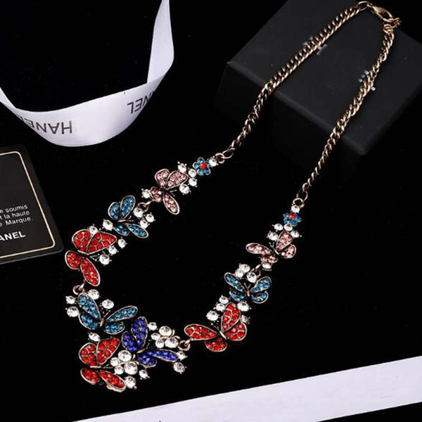 Korea Fashion Colorful Crystal Butterfly Pendant Necklace Sweater Chain Clavicle Chain Women Girl Party Jewelry Gift Accessories