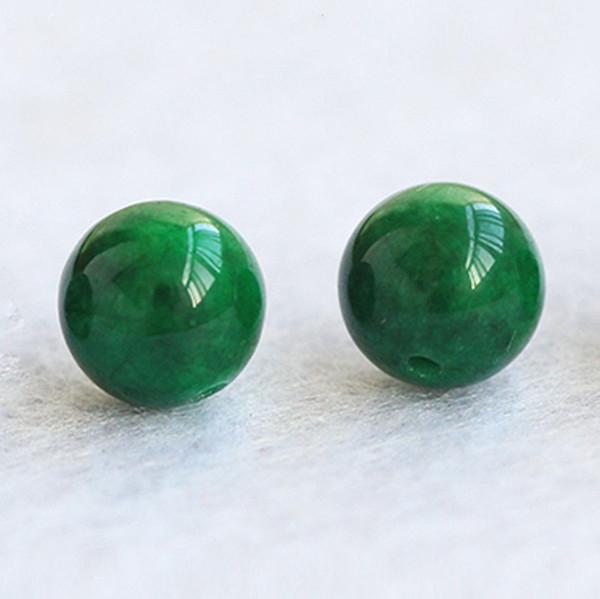 Naturel Myanmar 30pcs sec vert lâche émeraude ronde bricolage lâche bracelet accessoires collier perles