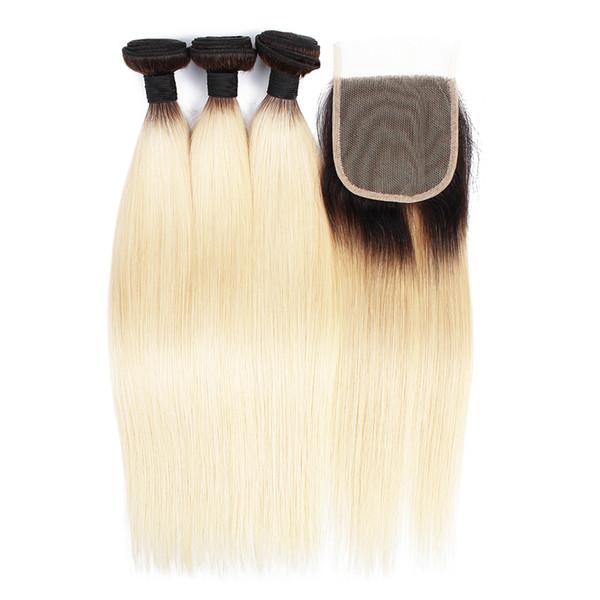 KISSHAIR T1B613 tecer cabelo liso 3 pacotes com o fechamento extensão do cabelo cor loiro virgem Europeia cabelo brasileiro