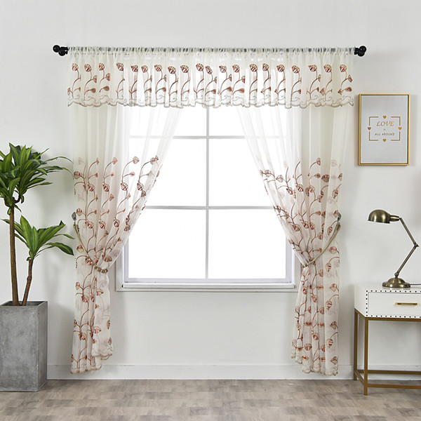 2019 Tulle Kitchen Curtains Rustic Decorations For Home Red Leaves Valance Window Curtain Living Room Embroidered Pastoral Voile From Herbertw 28 15