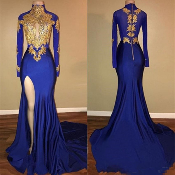 Royal Blue Long Sleeves Evening Dresses Gold Lace Applique High Neck Sexy Side Slit Split Sweep Train Mermaid Prom Party Gown