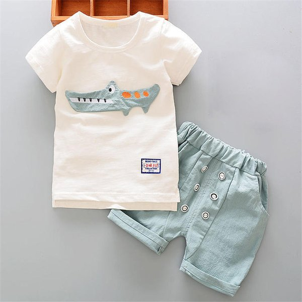 good quality Baby boys clothing sets summer 2PCS white cartoon Shirt+Shorts sports suit for toddler baby boys costume outside summer