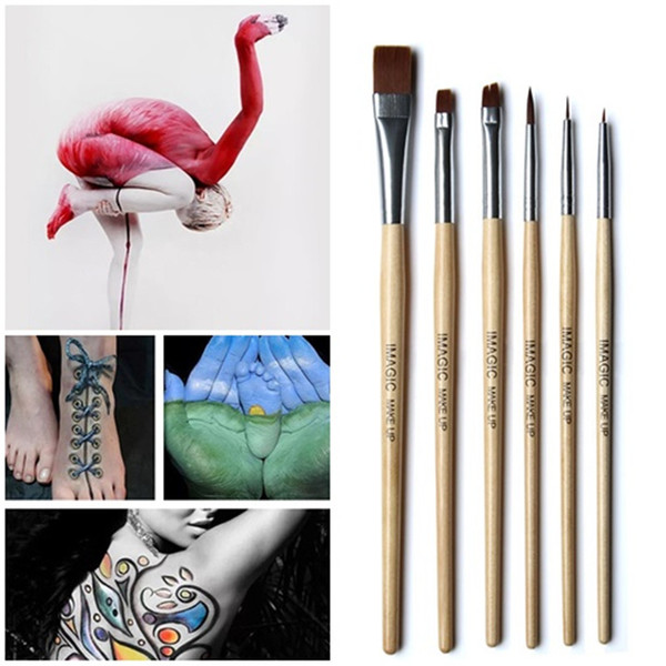 New 6Pcs Makeup Brushes Set Face Eyeliner Paint Brush Set Professional Body Painting Paint Brush Make Up Tool
